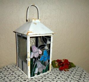 Metal Stained Glass Designed Primitive Candle Indoor Outdoor Lantern Lamp