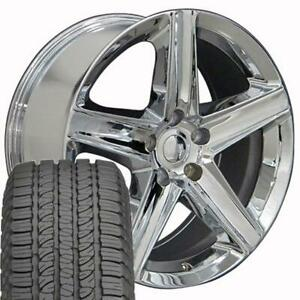 20x9 Chrome Grand Cherokee Srt Style Wheels Tires Rims Fit Jeep Wrangler Cp