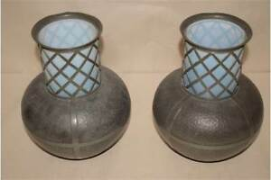 Pair Of Vases Pewter Vase Arts And Crafts Glass Lining Blue Antique Decorative