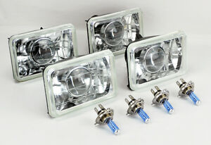 Four 4x6 Halogen Semi Sealed H4 Clear Projector Headlights Conversion Chevy