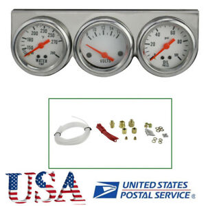 Usa Universal Chrome Oil Pressure Water Volt Triple 3 Gauge Set Car Gauges Kit