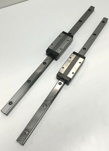 Lot Of 2 Thk Shs15 lv Linear Motion Ball Bearing Carriages On 400mm Guide Rails