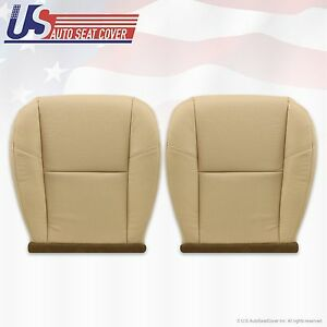 2009 2011 Cadillac Escalade Driver Passenger Seat Bottom Leather Covers Tan