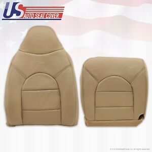 1999 Ford F250 350 Lariat Front Driver Side Top Bottom Leather Seat Covers Tan
