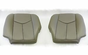 2003 2004 Silverado Driver And Passenger Bottom Leather Seat Covers Pewter Gray