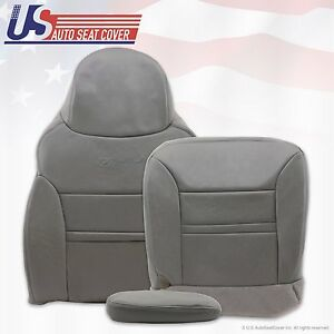 2001 Ford Excursion Limited Driver Bottom Top Armrest Leather Seat Cover Gray