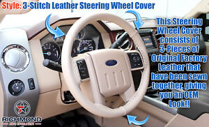 2008 2009 Ford F 250 F 350 Lariat Leather Steering Wheel Cover W Needle