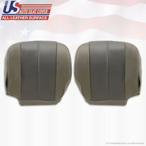 2001 Gmc Yukon Denali Driver Passenger Bottom Leather Seat Cover 2 tone Gray