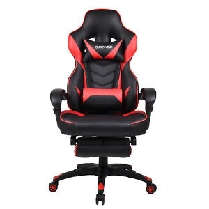 Gaming Chair Reclining Racing Office Computer Large Seat High Back Footrest Red