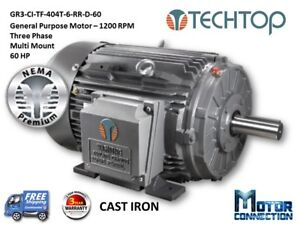 60 Hp Electric Motor Gen Purp 1200 Rpm 3 phase 404t Cast Iron Nema Prem