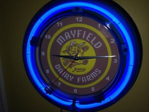 Mayfield Dairy Jersey Cow Milk Diner Kitchen Neon Lighted Wall Clock Sign