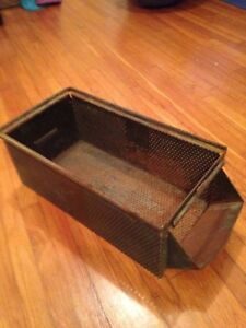 Vintage Metal Storage Stacking Bin Perforated Sides Industrial Factory Green