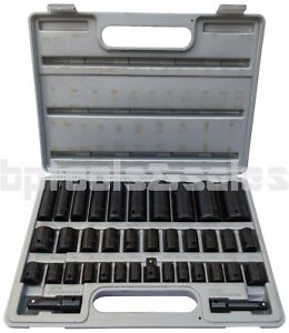 38pc Duo Combo Impact Socket Set 3 8 1 2 Deep Shallow Flank Dr Metric sae