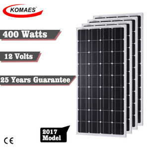 Komaes 12v 400 Watts Solar Panel Kit Mono For Off Grid Rv Boat Battery Charge