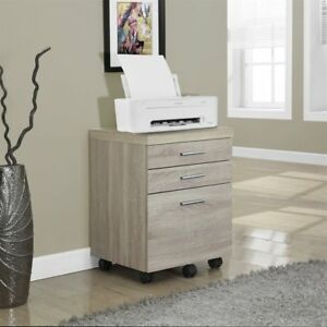 Monarch Specialties 3 drawer Mobile File Cabinet I 7050 Natural Reclaimed Modern