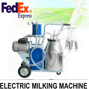Auto Electric Milking Machine Milker Farm Cattle Cow Bucket Vacuum Piston Pump