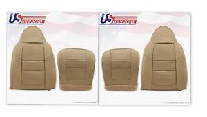 2001 Ford F250 Lariat Front Bottoms Tops Leather Seat Covers Parchment Tan 4h