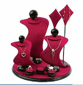 Jewelers Leather Jewelry Display Set Necklace pendant Earring Stand