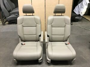 2011 13 Honda Odyssey Tan Vinyl 2nd Row Seat Set 2 Bucket Seats Recline