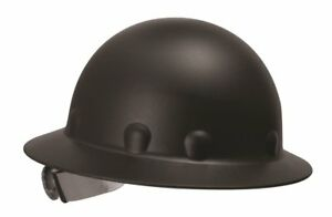 Fibre Metal Black Roughneck Full Brim Fiberglass Hard Hat W Ratchet Suspension