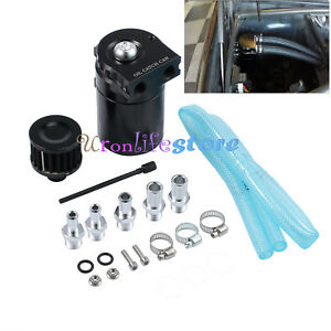 0 3l Black Baffled Universal Aluminum Oil Catch Breather Can Reservoir Tank New