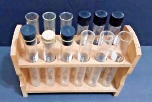 Vtg Fisher Brand Wood Test Tube Rack 12 Holes Pyrex Glass 9800 9825 Screws Stand