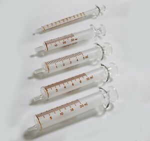 12 Pcs Standard Glass Syringes 1ml 20 Ml clear Barrel