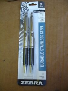 Zebra F 402 Stainless Steel Retractable Rapid Dry 0 7 Fine Point Pen 29212 Qty24