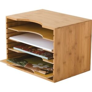 Lipper Bamboo File Organizer With 4 Dividers 811