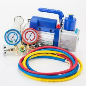 Manifold Gauge Hose Air Conditioner R134a R12 R22 3cfm Rotary Vane Vacuum Pump
