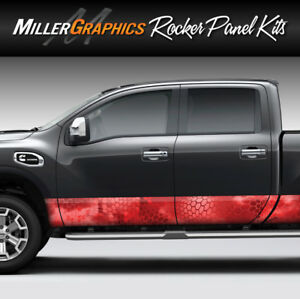 Camo Chameleon Red Rocker Panel Graphic Decal Wrap Kit Truck Suv 4 Sizes