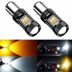 Jdm Astar 2x 1157 2357a Dual Color Led Switchback White Amber Turn Signal Lights
