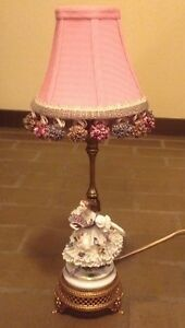 Rare Antique 19th Century Muller Volkstedt German Dresden Lace Porcelain Lamp