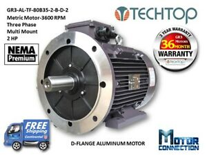 2 Hp Electric Motor Metric 3600 Rpm 3 phase D flange Aluminum