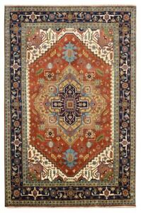Hand Knotted Carpet 10 X 14 Serapi Pattern Rust Red Rug New Design