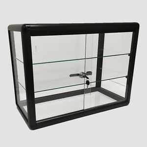 Glass Counter Top Aluminum Frame Locking Jewelry Display Case W 2 Shelves Black