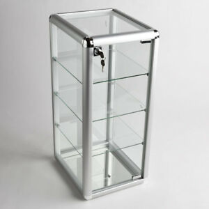 Glass Counter Top Aluminum Frame Locking Jewelry Display Case W 3 Shelves Adc 1