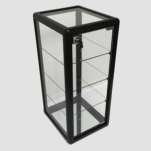 Glass Counter Top Aluminum Frame Locking Jewelry Display Case W 3 Shelves Black