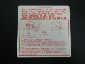 1963 Buick Wildcat Invicta Electra Lesabre Trunk Bumper Jack Instructions Decal