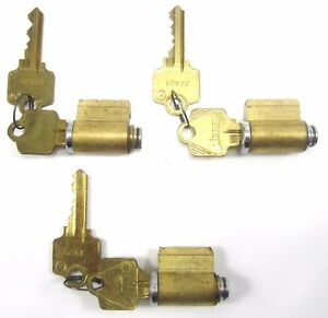 Lot 3 Arrow Satin Chrome Brass 5 pin Interchangeable Cores Keyed With 2 Keys