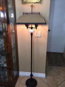 Antique Large Double Brass Floor Lamp W Board Shades 60 Tall X 18 Wide