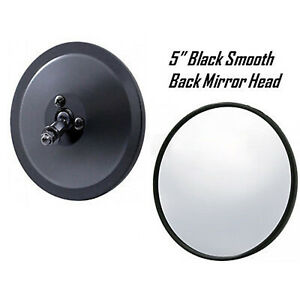 5 Black Smooth Exterior Door Round Rear View Mirror Head 1947 1972 Chevy Truck