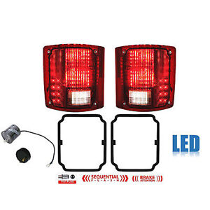 73 91 Chevy Gmc Truck Led Sequential Tail Light Lens Gaskets Pair W Flasher