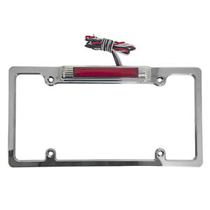 Chrome License Plate Frame W red Led Third Brake Light White Led License Light