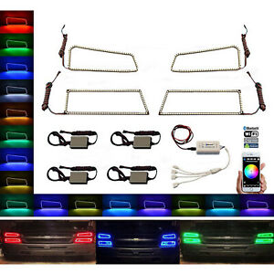 03 06 Chevy Silverado Multi Color Led Rgb Headlight Halo Ring Bluetooth Set