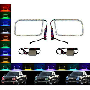 03 06 Chevy Silverado Multi Color Changing Shift Led Rgb Fog Light Halo Ring Set