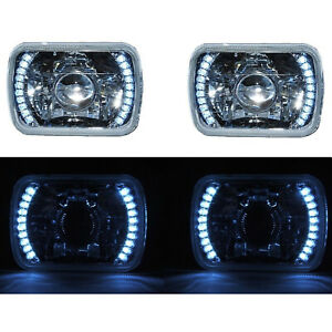 7x6 White Led Halo Projector Halogen Crystal Headlights Angel Eye Light H4 Bulbs