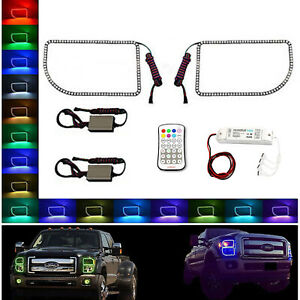 11 16 Ford F 250 Multi Color Changing Led Rgb Lower Headlight Halo Ring M7 Set