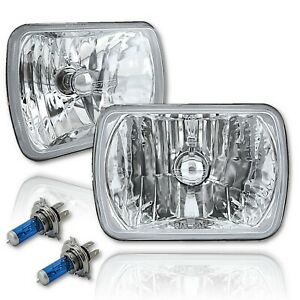 7x6 Crystal Clear Glass Lens Metal Headlight H4 Halogen Light Bulb Headlamp Pair