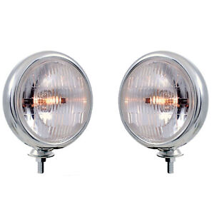 Chrome Vintage Clear 5 Fog Light Housing Halogen H3 Bulb Glass Lens 12v Pair